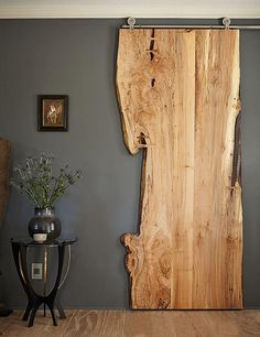 Hanging wood element in a room