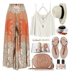 bohemian outfit, maxi skirt with orange ornaments, white t-shirt