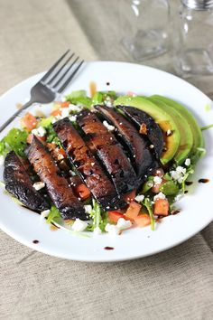 Portabella Mushroom Salad with Rosemary Balsamic Glaze. Swap a Few Ingredients to Make this Vegan...