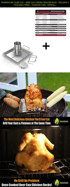 Temperature Guide (lg) + Beer Can Chicken Roaster Rack - INCLUDES 4 VEGETABLE SPIKES - Stainless Steel Vertical BBQ Roasting Holder - Dishwasher Safe Barbecue Stand & Extra Deep Drip Pan #fpv #kit #grills #sausage #shopping #my #products #plans #tech #racing #technology #love #parts #camera #drone #gadgets