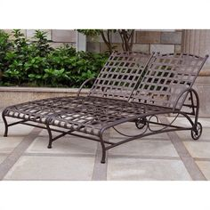 wrought iron double chaise lounge for outdoor with modern design