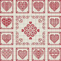 ~ Red & White Hearts ~ This would make a perfect Table Topper....
