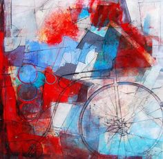 Sharon Blair Art and Design: Free Wheeling   www.sharonblair.com.au     - Art For Inspired Interiors           -  Mixed Media Artwork: Abstract Featuring Penny Farthing Bicycle