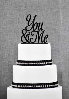 You & Me Wedding Cake Topper Script You by ChicagoFactoryDesign