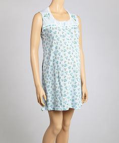 Blue Floral Embroidered Knit Maternity Nightgown - Women & Plus by Sidney Bernstein & Son Lingerie on #zulily