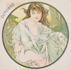 ❤ - Alphonse Mucha   The Months - October, 1899.
