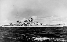 German battlecruiser or battleship Scharnhorst shown underway after her refit in 1939. Intended as commerce raiders, the Scharnhorst-class battlecruisers were inferior to battleships, with only 11-inch guns, but outgunned any Allied heavy cruiser, and could lay waste to any convoy they caught.