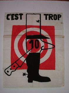 Affiche mai 68  C'est trop  De Gaulle