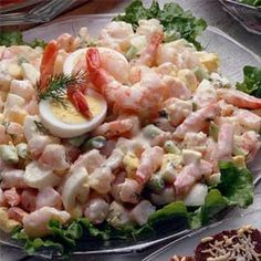 Shrimp Salad/ 1 pound shrimp, peeled and deveined 2 hard-cooked eggs, chopped cup celery, thinly sliced cup mayonnaise 1 teaspoon Dijon mustard teaspoon onion powder salt and pepper to taste Shrimp Salad Recipes, Seafood Salad, Salad Recipes For Dinner, Healthy Salad Recipes, Healthy Foods To Eat, Seafood Recipes, Food Network Recipes, Food Processor Recipes, Cooking Recipes