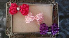 Set Satin Kanzashi hair bows U pick colors by ArabellaChicBowtique