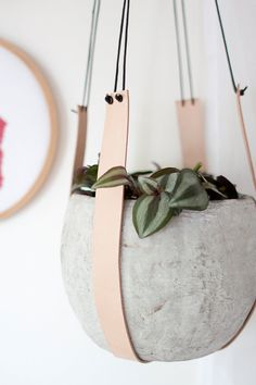 Leather plant hanger pot hanger hanging planter by KindaLovely
