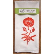 ArtGoodies Organic Block Print Poppy Tea Towel   - MADE IN THE USA - Available at www.cooltobuyamerican.com