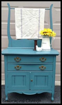 D-4 Wash stand Adorable Antique Washstand in Kitchen Scale Milk Paint & Hemp Oil