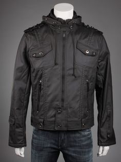 Premiun Lounge® Classic Mens Black Motorcycle Jacket.  Rock the biker look in this black motorcycle jacket that features the brand logo embossed on the outer sleeve and a drawstring hoodie to tighten against the wind. With two front chest pockets and two side zipper pockets, you have plenty of space to put your wallet, phone, and ipod while you ride!