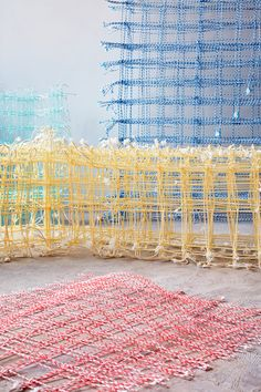 Fransje Gimbrere creates sculptures from natural fibre and recycled plastic