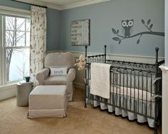 Great nursery ideas!  like the little owl, and comfy chair with gray room.
