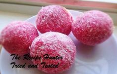 A decadent cake like treat coated in pink coconut.
