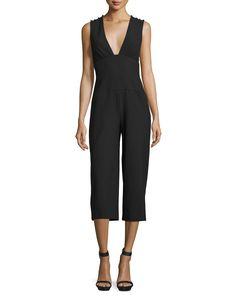 be791bfff20 Nicole Miller Sleeveless Plunging V-Neck Midi Jumpsuit