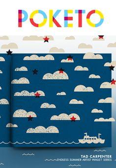 clouds + stars + typographical + color scheme + boat