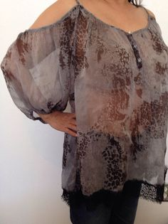 BKE Boutique Sheer Blouse Lacy Women's Top Shoulders Bare Large #BKEBoutique #TunicwithBareShoulders #Casual