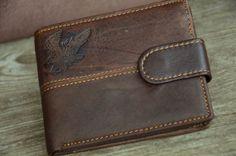 Mens Bi-fold Wallet Genuine Leather Wallet Billfold Distressed Brown Leather Wallet Eagle by SherryJewelry on Etsy, $25.00