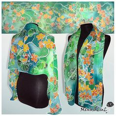 Long silk scarf Nasturtium Silk Scarves hand painted by MinkuLUL