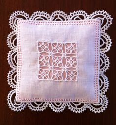 Lefkara sachet, front, by Susan CW Hardanger Embroidery, Lace Embroidery, Embroidery Stitches, Needle Lace, Bobbin Lace, Drawn Thread, Satin Stitch, Lace Making, Embroidery Techniques