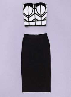 Modern cut black and white two piece bandage skirt – Everyone's corner