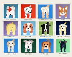 Puppy Dog nursery art for kids. Baby nursery decor childrens prints. 11x14 Dog prints. Kids art. Dog lover Childrens art by WallFry. $22.00, via Etsy.