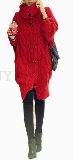 Crochet Jacket Women Red Hearts Ideas For 2019 Red Sweaters, Sweaters For Women, Buy Clothes Online, Latest Fashion Dresses, Crochet Jacket, Jacket Pattern, Red Fashion, Sweater Fashion, Fall Outfits