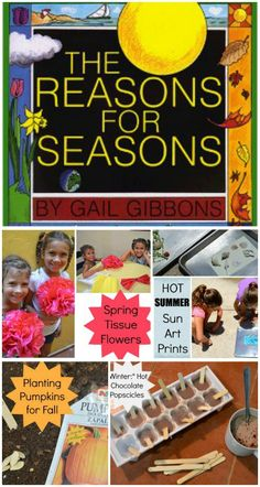 """4 activities (one for each season) for the book """"A Reason for the Season."""" So cute for kids to learn about the seasons! A craft, garden project, science, and cooking activity. Educational Activities For Kids, Preschool Themes, Book Activities, Seasons Lessons, Seasons Activities, Primary Science, Teaching Techniques, Kids Around The World, Stem Learning"""