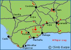 Map of the main rock Climbing areas in Andalucia