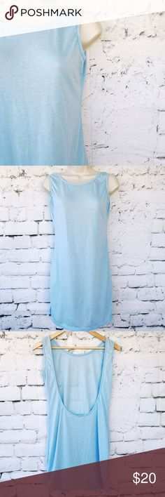 Baby Blue Backless Tank Top This item is used however it has no known flaws, rips or stains.  Please see pictures for material and measurements.  Welcome to make an offer unless item says firm in title.  Feels like Cotton. Tops Tank Tops