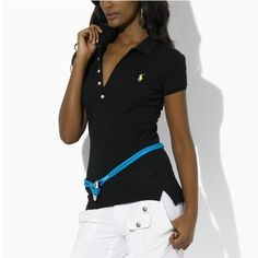 d17e8fad44808 Ralph Lauren 1061 Lana long Placket stretch Polo In Black