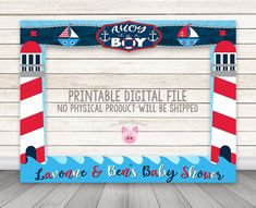 PRINTABLE Nautical photo booth frame,Nautical Baby Shower photo booth frame, Lighthouse Anchor Boats Photo Booth Frame Ahoy it's A Boy Frame Baby Shower Photo Booth, Fotos Baby Shower, Baby Shower Backdrop, Baby Shower Photos, Boy Baby Shower Themes, Baby Shower Parties, Baby Boy Shower, Baby Showers, Photo Frame Prop