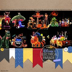Love the banners!  Ok this layout makes me want to go to Disney world and take my own pix of this parade!