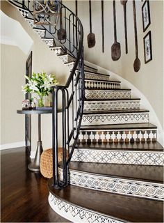 Decorative stair risers transform an ordinary staircase and make it a work of art. In addition, decorating the stair risers is a fantastic way to add an Tiled Staircase, Tile Stairs, Stair Walls, Stair Risers, Wood Stairs, Staircase Design, Staircases, Staircase Ideas, Mosaic Stairs