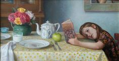 "Patricia Watwood (American, born 1971) ""Waiting for Supper"", 2010  [She's reading Harry Potter]"