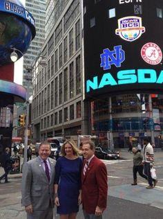 Coach Saban with Notre Dame head coach Brian Kelly and ESPN's Wendi Nix in New York City. Crimson Tide Football, Best Football Team, Football Baby, Alabama Football, Alabama Crimson Tide, Brian Kelly, Nick Saban, Win Or Lose, University Of Alabama
