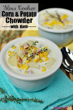 Slow Cooker Corn and Potato Chowder with Ham ~ a comforting, effortless crock pot dinner to warm you up this fall and winter! | FiveHeartHome.com