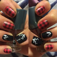 Friday Flannel and Into the Woods Jamberry Jamicure Check it out here :) laurenbaars. Fancy Nails, Love Nails, Pretty Nails, My Nails, Snow Nails, Winter Nails, Deer Nails, Plaid Nails, Nail Tattoo