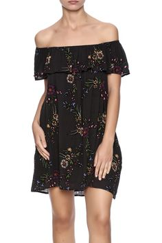 Off shoulder ruffle neckline floral dress with pockets. Fully lined. Home Grown Dress by Honey Punch. Clothing - Dresses - Off The Shoulder Clothing - Dresses - Short Sleeve Clothing - Dresses - Floral Florida