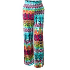 URBAN K PLUS Womens Must Have! Knit Printed Palazzo Pants Plus Size at... ($22) ❤ liked on Polyvore featuring pants, women's plus size pants, plus size knit pants, womens plus pants, plus size palazzo pants and palazzo trousers