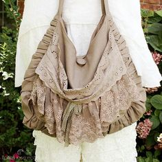 Taupe Lace Cross Body Bag