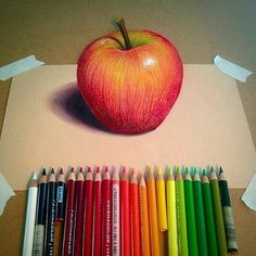 Apple drawn with Prismacolor pencils on Canson Mi-Teintes paper by Willie Hsu Colored Pencil Artwork, Coloured Pencils, Color Pencil Art, Realistic Drawings, Love Drawings, Pencil Drawings, Drawing Apple, Crayons Pastel, Fruits Drawing
