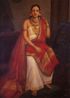 Arrogance Feinte par l'artiste Raja Ravi Verma Reproduction | peintures à l'huile