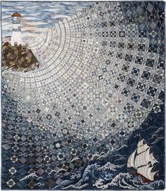 """""""Over the Waves"""" quilt by Setsuko Matsushima"""