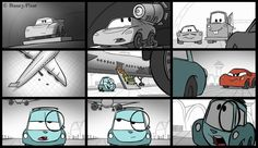 Example of a storyboard for class. Cars 2 Movie, Disney Cars Movie, Pixar Movies, Cars Cartoon Disney, Kids Cartoon Characters, Cartoon Kids, Disney Crossovers, Kung Fu Panda, Animation