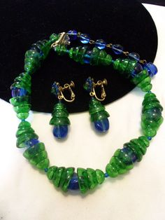 MIRIAM HASKELL Vintage 1970s Designer Larry Vrba Blue Green Poured Glass Bead Necklace Flower Drop Earrings Set