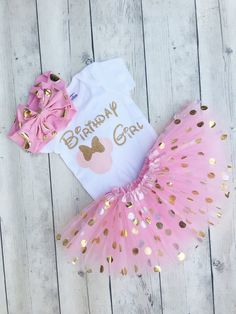 Pink and gold minnie mouse first birthday outfit - minnie first birthday onesie